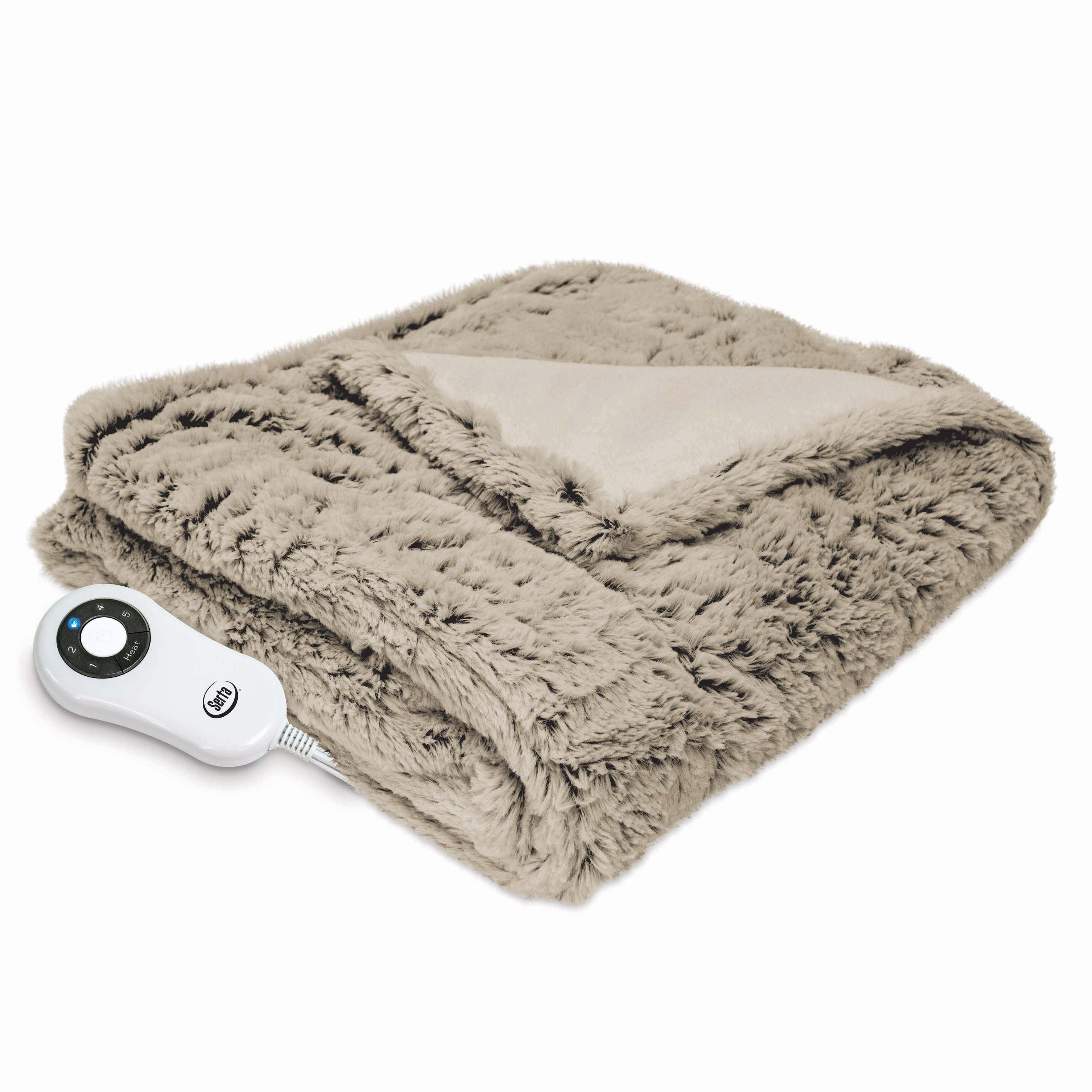 Serta Frosted Faux Fur Electric Heated Throw