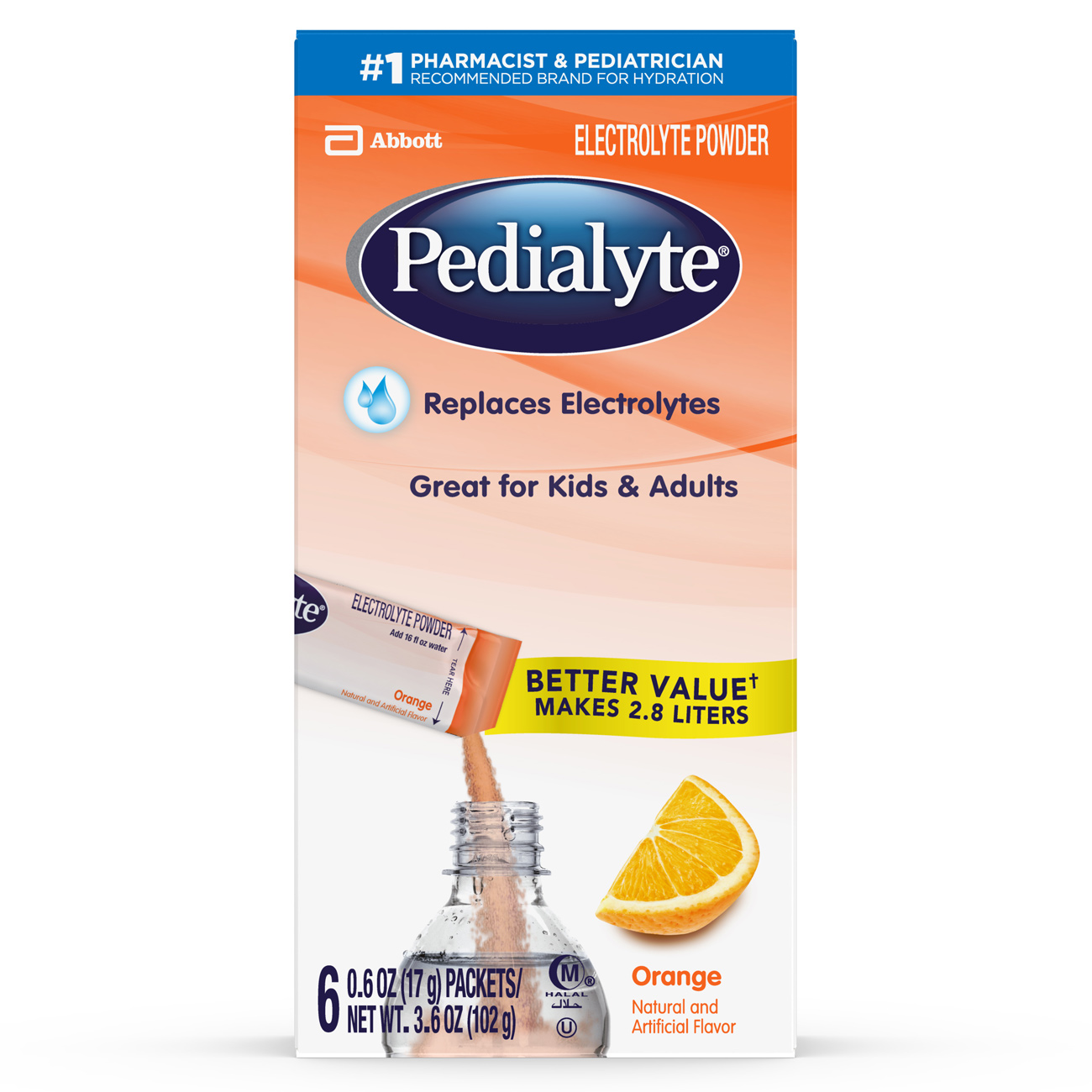 Pedialyte Electrolyte Powder, Electrolyte Drink, Orange, Powder Sticks, 0.6 Ounce, 36 Count