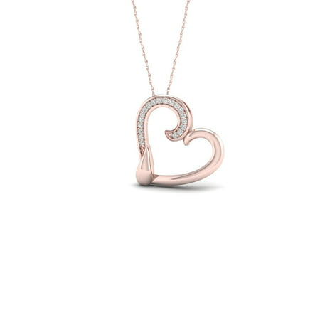 1/20Ct TDW Diamond 10K Rose Gold Heart Necklace