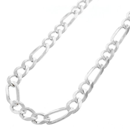 "Sterling Silver Italian 7mm Figaro Link ITProLux Solid 925 Necklace Chain 20"" - 30"""