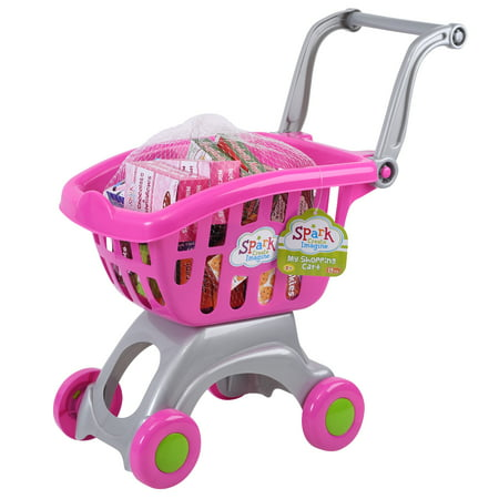 Spark My Shopping Cart - Pink Kids can have pretend play fun with the Spark My Shopping Cart, Pink. It features a colorful design with a handle on top for easy pushing and wheels for smooth movement. The kids' toy shopping cart also includes 18 grocery boxes for added fun. The toy food items include breakfast cereal, spaghetti, cookies, chocolate milk and chicken noodle soup. The toy is made from plastic and designed for children aged 2 years and older.