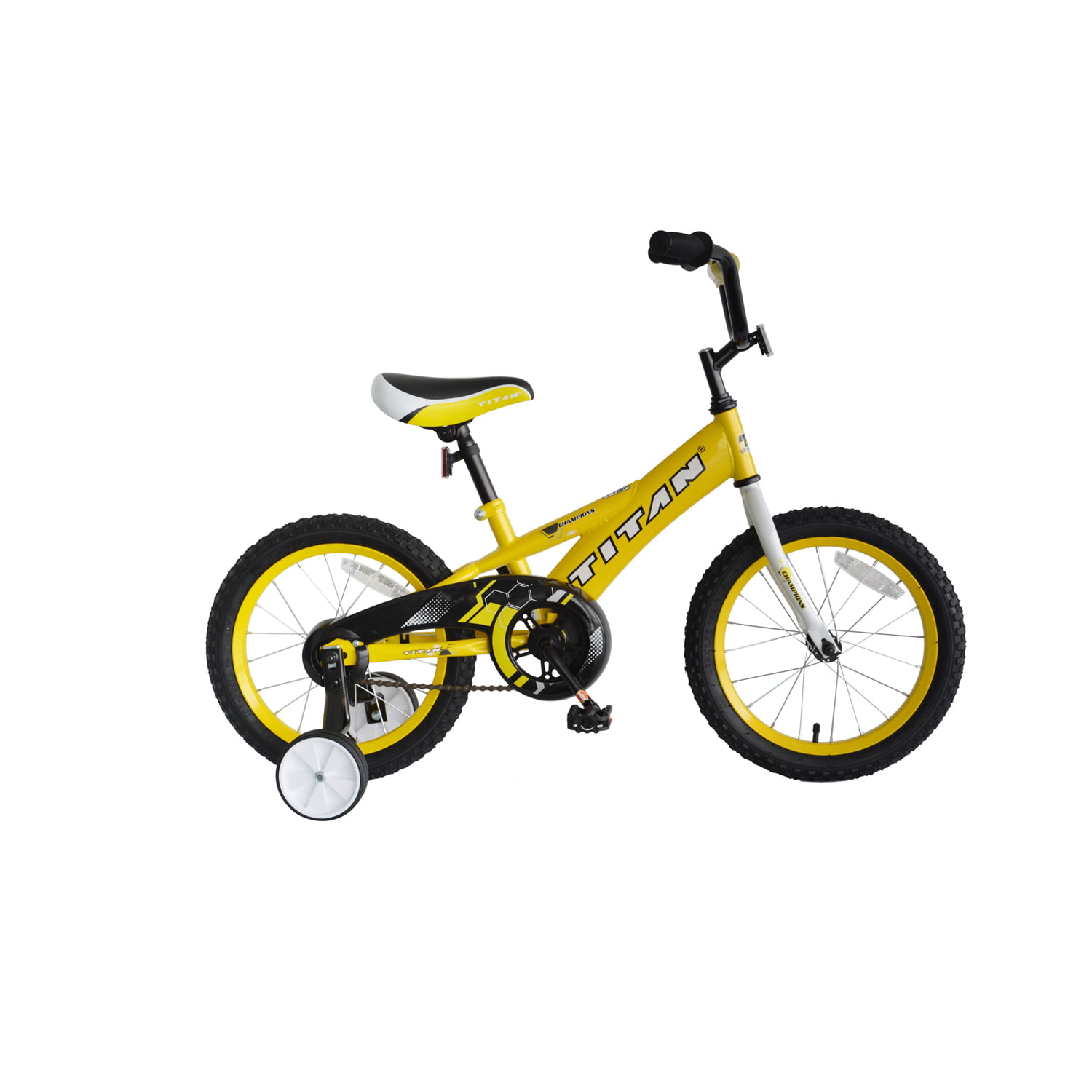 Champion Boys BMX Bike with Training Wheels, 16-Inch, Yellow by Titan