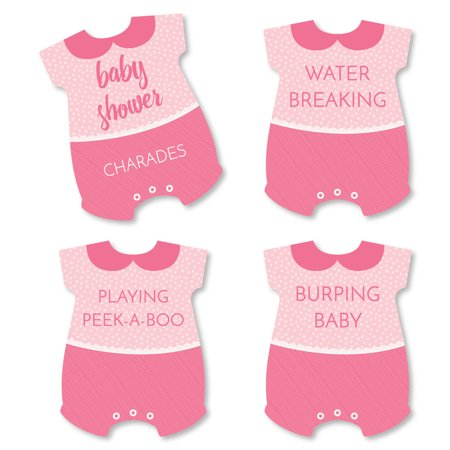 Baby Girl - Pink Baby Shower Game - Baby Charades Cards - Set of 24