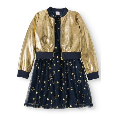 Dress and Metallic Bomber Jacket, 2-Piece Outfit Set (Little Girls & Big - Little Dress Up Shop Coupon Code