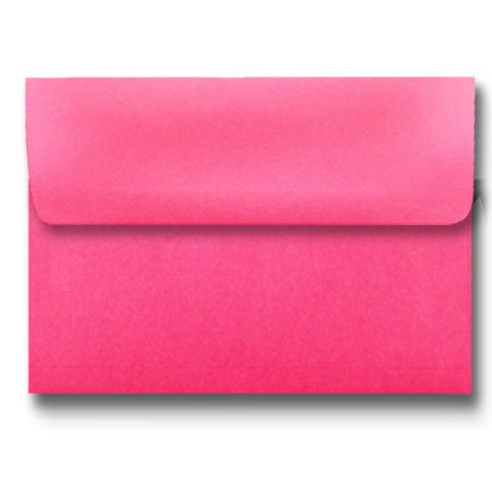Shipped Free Bright Hot Pink 50 Boxed A7 Envelopes for 5 X 7 Greeting Cards Invitation Photos Birth Announcement Showers Christening by The Envelope Gallery ()