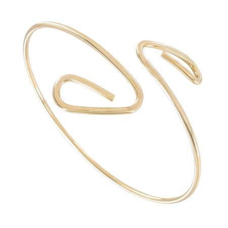 Gold Tone Upper Arm Cuff Bracelet Single Coil  - Gold Snake Arm Cuff