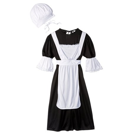 Pilgrim Girl Costume, Black/White, Medium, BlackWhite Polyester Pilgrim RG Costume Medium Peasant Costumes Fabrics Girl Boy Child By RG Costumes - Peasant Boy Costume