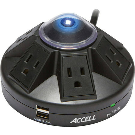 Accell Powramid 6 Outlet Surge Protector With 2X Usb Charging Ports  Ul Listed  2 1A Usb Output  6Ft Cord  Black