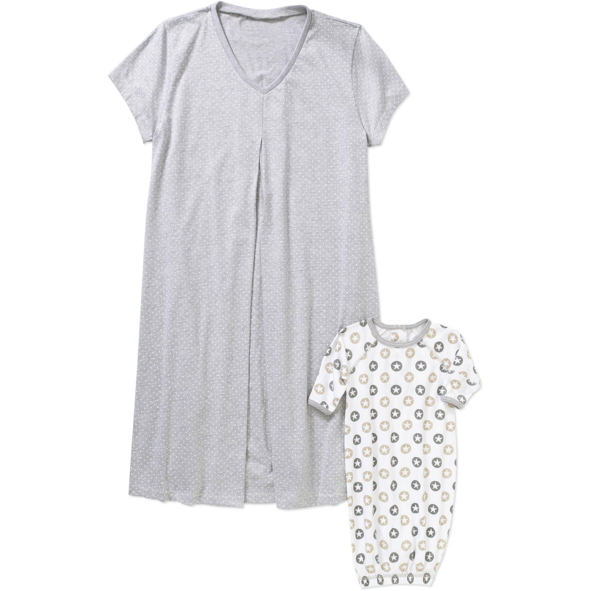 de5fcf8bc8ce5 Nurture by Lamaze - Maternity 3/4 Sleeve Henley Sleep Gown - Walmart.com