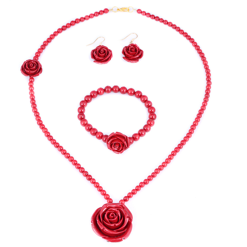 """30mm Red Simulated Coral Bead Rose Stretch 7"""" Bracelet 22"""" Necklace Earrings Set by"""