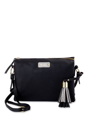 Time and Tru Triple Compartment Crossbody with Tassel Detailing