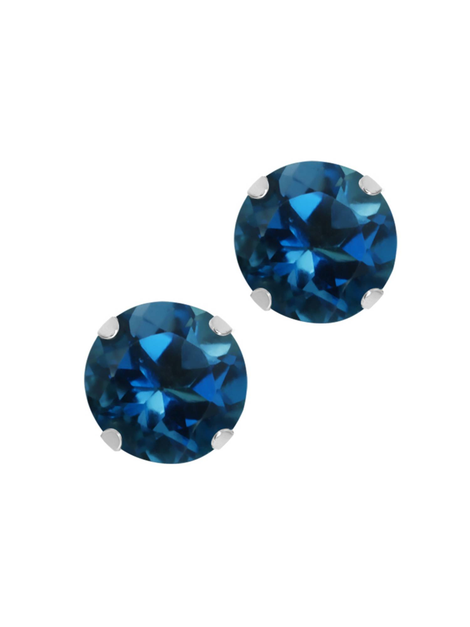 1.20 Ct Round 5mm Blue Topaz 10K Yellow or White Gold Stud Earrings