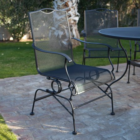 Vertical Spa Set Wrought Iron (Belham Living Stanton Wrought Iron Coil Spring Dining Chair by Woodard - Set of 2 - Textured Black )