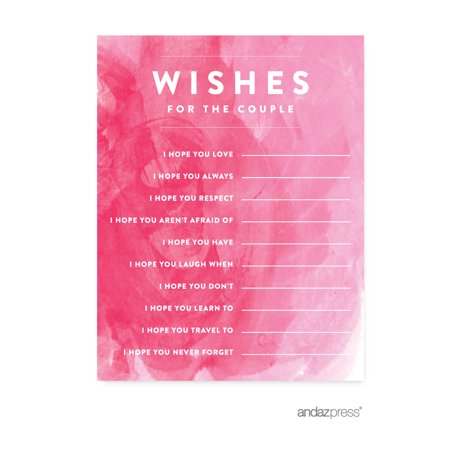 Newlywed Advice Cards  Pink Watercolor Wedding Cards Guest Book Alternative, 20-Pack