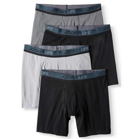 Jockey Life® Men\'s Cotton Stretch Long-Leg Boxer Brief Bonus Pack ...