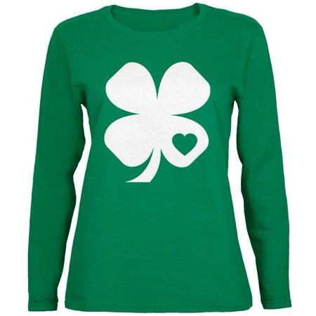 St. Patricks Day - Shamrock Heart Green Ladies Long Sleeve T-Shirt