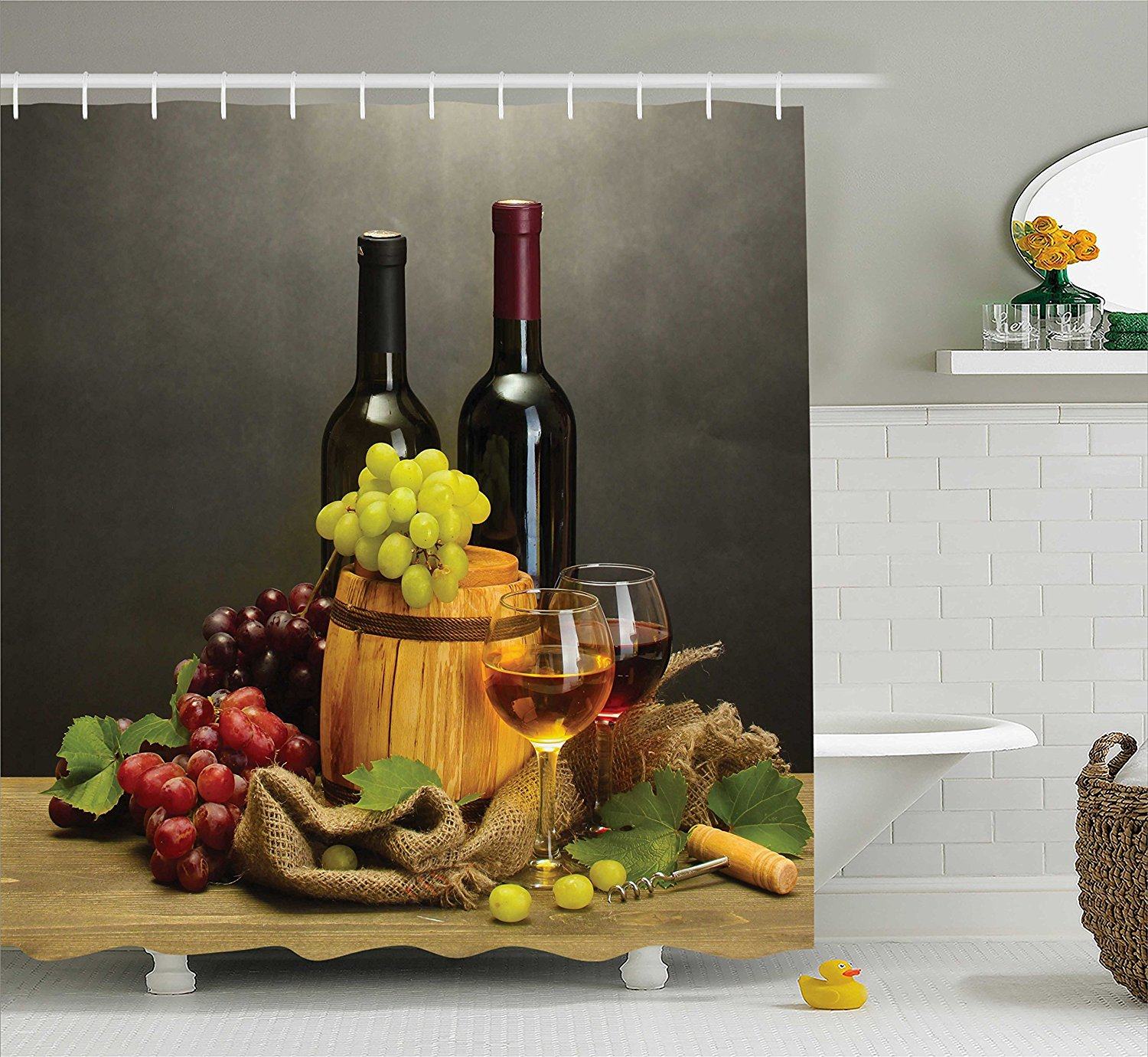 Winery Decor Shower Curtain by , Barrel, Bottles and Glas...