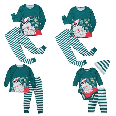 Christmas Family Matching Pajamas Santa Claus Print Long Sleeve Tee Tops Stripe Long Pants Homewear