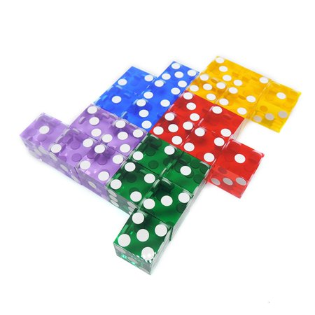 5 Pieces Top Grade 19mm Casino Dice With The Edges And Serial Numbers Translucent Clear D6 Dice Real Dice - image 3 de 7