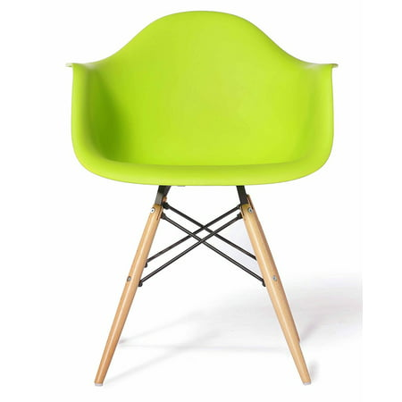Green - Modern Style Armchair with Natural Wood Legs Eiffel Dining Room Chair - Lounge Chair Arm Chair Arms Chairs Seats Wooden Wood Leg Wire Leg Dowel Leg Legged Base - Arms Wood Green