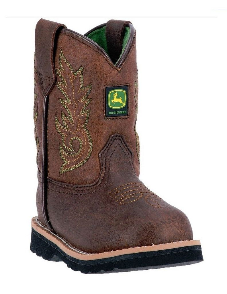 John Deere Western Boots Boys Kids Round Toe Steel Shank Brown JD2034 by John Deere