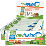 RawFusion Bar Plant-Based Organic Protein Bars, Almond Berry, 12 Count