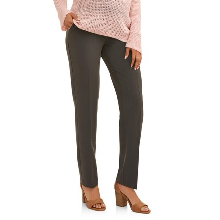 Oh! Mamma Maternity Career Pants with Demi Panel and Straight Leg - Available in Plus Sizes