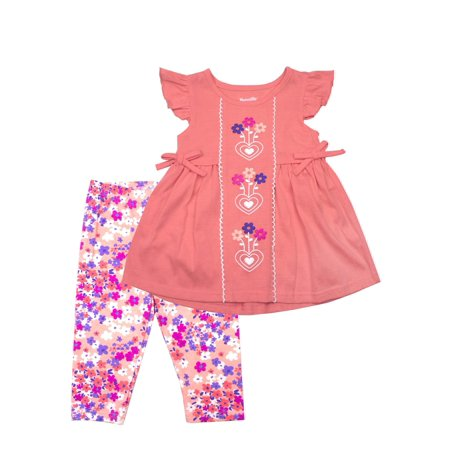 Nannette Coral Heart Floral Top & Capri Leggings, 2pc Outfit Set (Baby Girls & Toddler Girls)