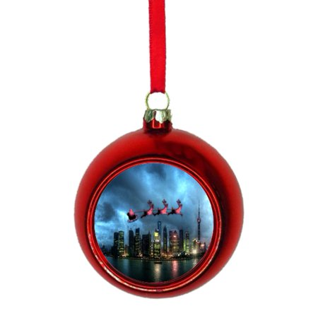 Santa Klaus and Sleigh Riding Over Shanghai China Bauble Christmas Ornaments Red Bauble Tree Xmas Balls ()