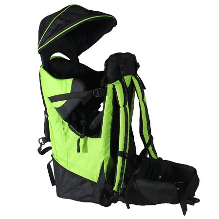 Deluxe Baby Back Pack Cross Country Lightweight Carrier Green W  Stand And Sun Shade Visor