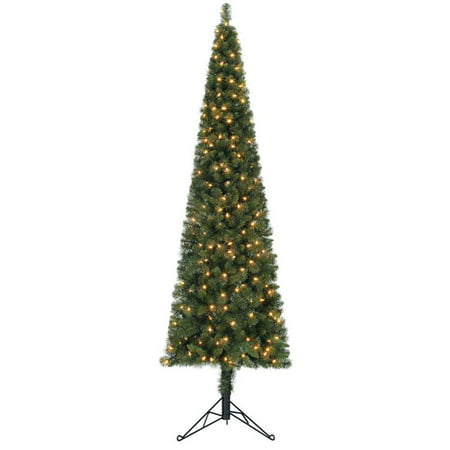 Home Heritage 7' Artificial PVC Corner Christmas Tree LED White Lights w/ Stand ()