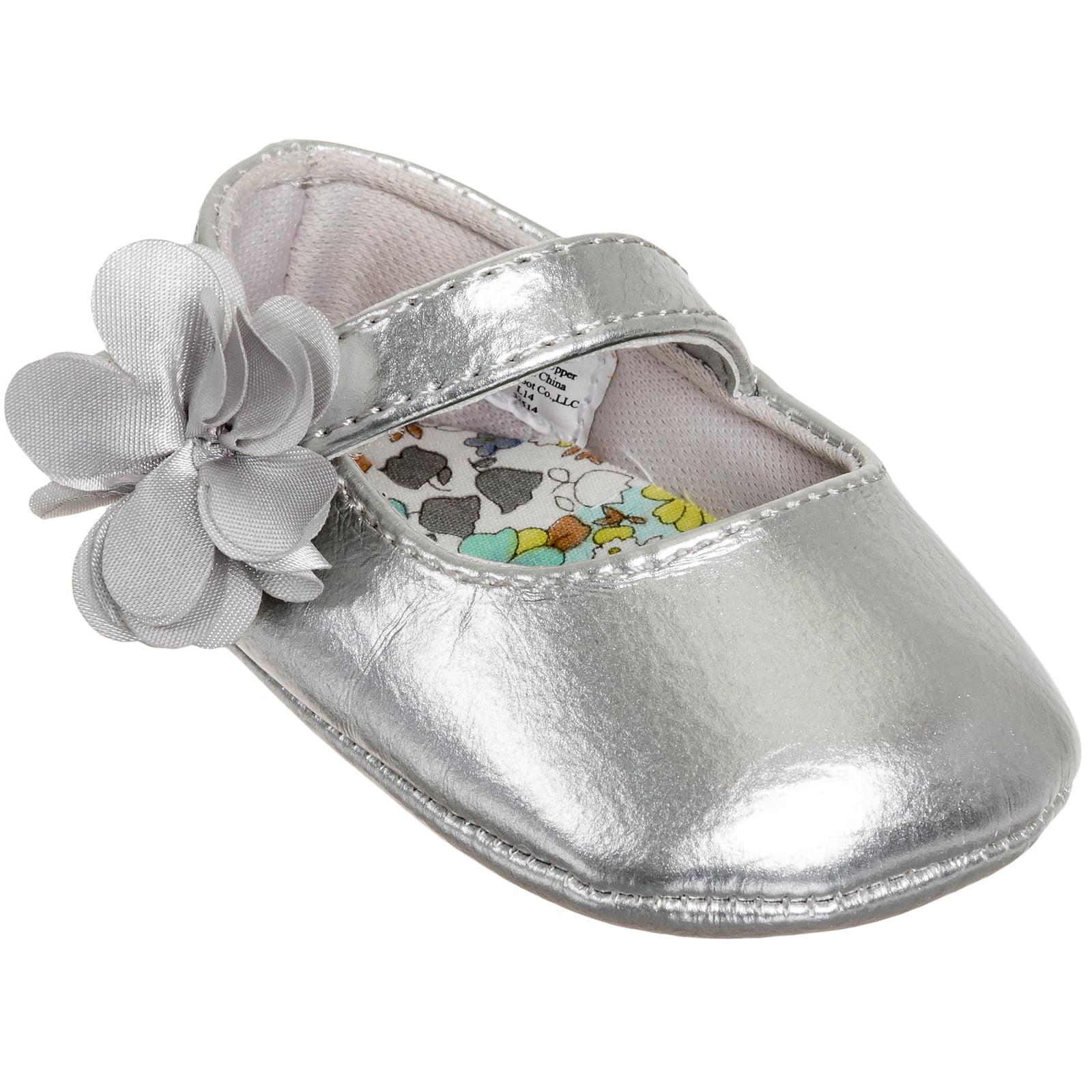 Baby Deer Girls Patent Skimmer Soft-Sole Ballet Flat Shoes (Silver, 1 US Infant)