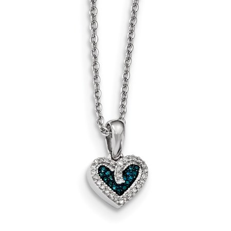 925 Sterling Silver Rhod Plated Blue White Diamond Heart Pendant Chain Necklace Charm S/love Gifts For Women For Her 925 Silver Plated Heart