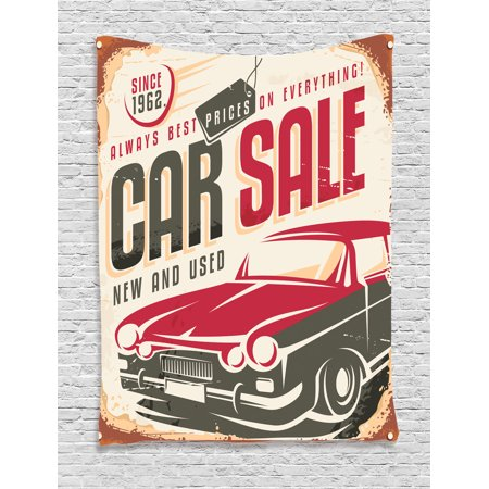 1960S Decor Wall Hanging Tapestry  Nostalgic Car Sale Sign New And Used Auto Advertising American Style Urban Life Print  Bedroom Living Room Dorm Accessories  By Ambesonne