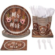 Serves 24 Rustic Wedding Party Supplies, 144PSC Plates Napkins Cups Knives Spoons Forks, Favors Decorations Disposable Paper Tableware Dinnerware Kit Set Bulk for Wedding Bridal Shower