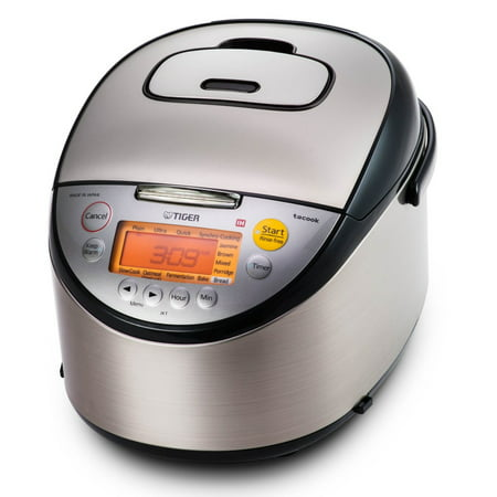 Tiger Corporation JKT-S18U 10-Cup Induction Heating Rice Cooker and Warmer with Tacook Plate, Stainless Steel Black