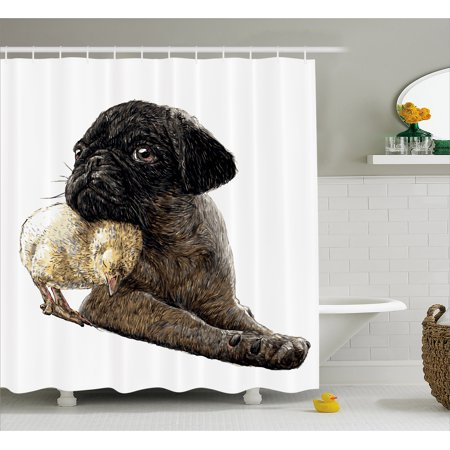 Pug Shower Curtain, Realistic Drawing of a Dog and a Small Chicken Snuggling Together Tenderness Love, Fabric Bathroom Set with Hooks, 69W X 75L Inches Long, Umber Yellow, by Ambesonne