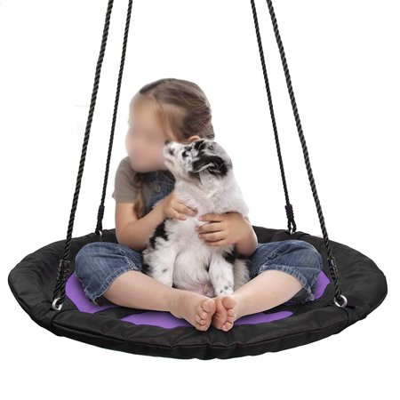 Playground Equipment Tire Swing (Zeny 40 Inch Waterproof Saucer Web Swing Or Saucer Tree Swing with Tree Rope,Great for Tree, Swing Set, Backyard, Playground, Playroom(Purple) )