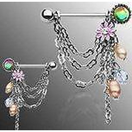 Nipple Ring Bars Dangle Beads Body Jewelry Pair 14 gauge Sold as pair