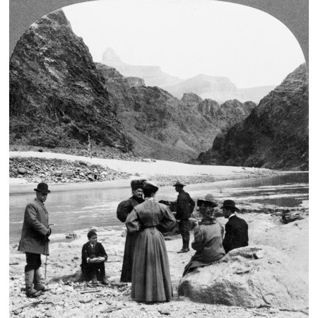 Grand Canyon Sightseers Na View Of The Grand Canyon In Arizona Looking Toward Zoroaster Tower Showing Group Of Tourists Standing On The Banks Of The Colorado River Stereograph 1906 Rolled Canvas Art