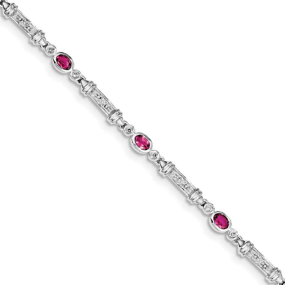"925 Sterling Silver (0.07cttw) Pink Tourmaline and Diamond Bracelet -7"" (7in x 4mm) by"