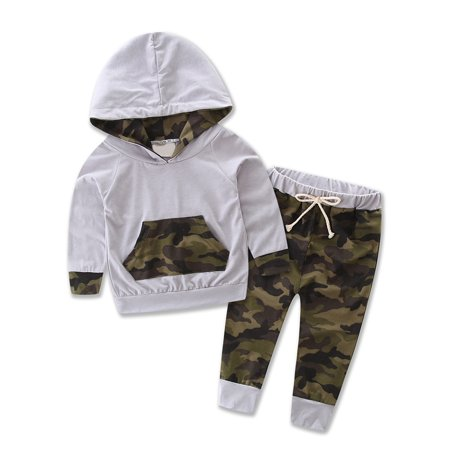StylesILove Infant Baby Boy Camouflage Hoodie Top and Pants Outfit (100/ 12-18 Months) for $<!---->