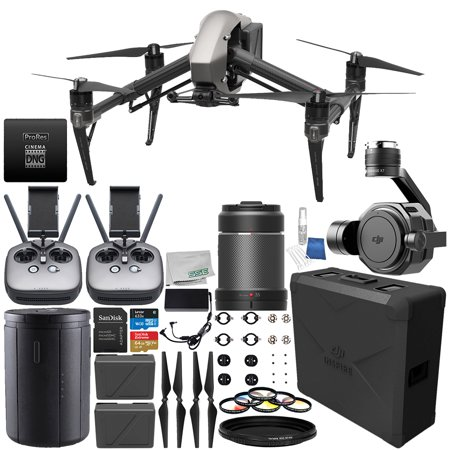 DJI Inspire 2 Quadcopter (CinemaDNG and Apple ProRes Licenses Included) with Zenmuse X7 Camera, 35mm f/2.8 ASPH LS Lens & Extra Remote Controller Transmitter