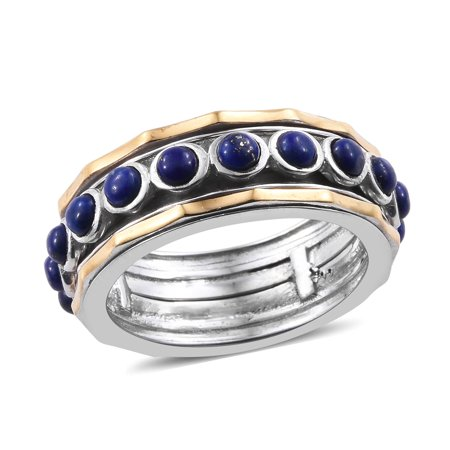 ION Plated 14K Yellow Gold Round Lapis Lazuli Spinner Gift Band Style Ring for Women
