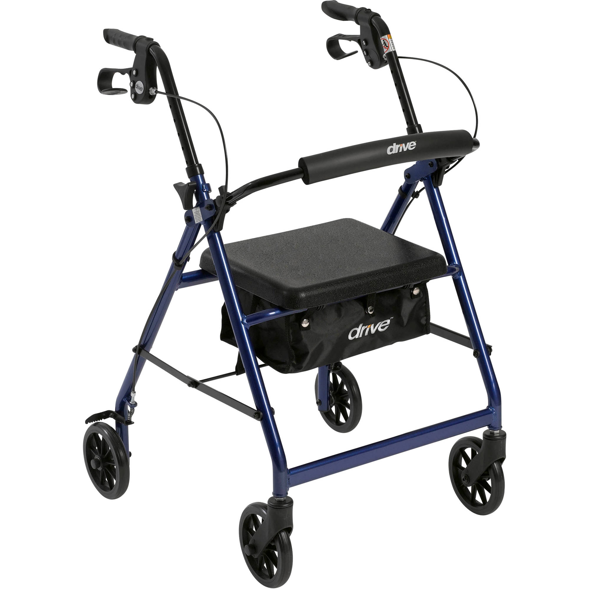 "Drive Medical Walker Rollator with 6"" Wheels, Fold Up Removable Back Support and Padded Seat, Blue"