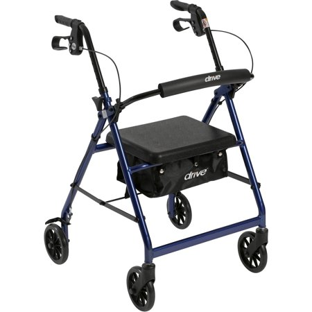 Drive Medical Walker Rollator With 6  Wheels  Fold Up Removable Back Support And Padded Seat  Blue