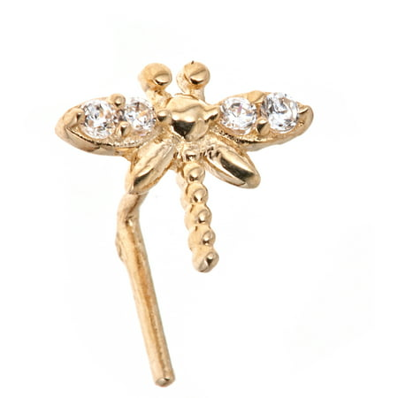 10kt Yellow Gold Nose Ring Butterfly Design With L shape post