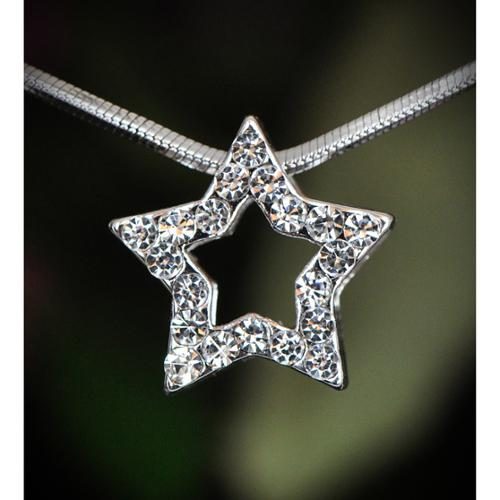 Wink International Silvetone Clear Crystal Star Necklace (Thailand)