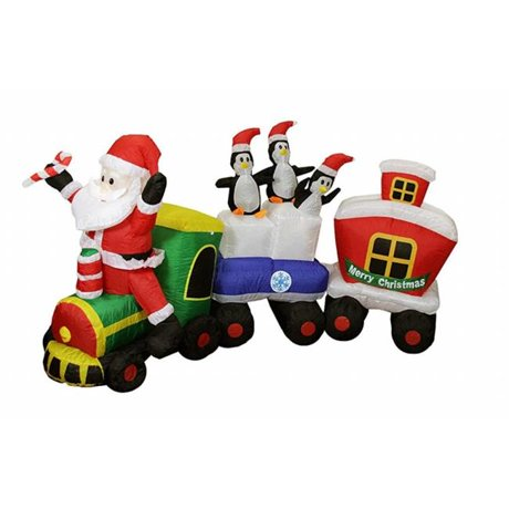 Northlight 32275077 8 ft inflatable lighted santa express for 57in led lighted peacock outdoor christmas decoration