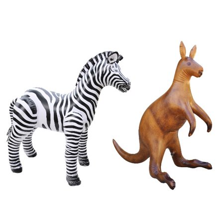 Inflatable Zebra Kangaroo Animal Toy Party Gift Kids (ZEB3+ROO) - Party Animal Toys